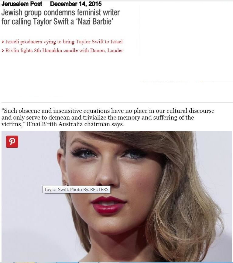 Jewish Group Condemns Feminist Writer For Calling Taylor Swift A Nazi Barbie Anti Defamation Commission
